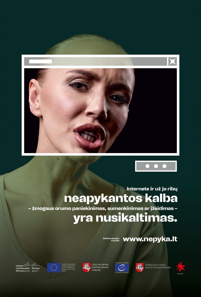 """Plakatas su tekstu """"Internete ar už jo ribų neapykantos kalba - žmogaus orumo paniekinimas, sumenkinimas ar įžeidimas - yra nusikaltimas"""""""